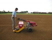 Newport Drive playing field at Winterton, North Lincolnshire. Our CP42 Culti-pack seeding machine applying grass seed following seedbed preparation.