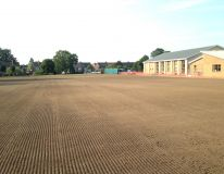 Lincoln Gardens Primary school. Playing field area following cultivation, levelling work and completion of seeding.
